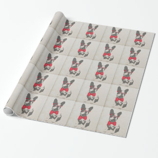 Cute funny trendy vintage animal French bulldog Gift Wrap Paper
