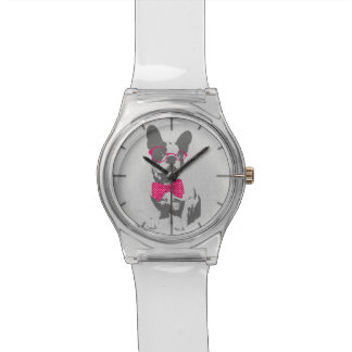 Cute funny trendy vintage animal French bulldog Wristwatch