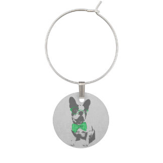 Cute funny trendy vintage animal French bulldog Wine Glass Charms