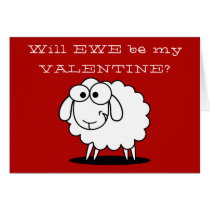 Cute Funny Valentine's Day Sheep Card