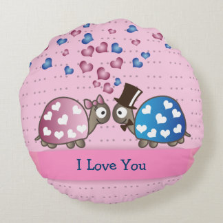 Cute Funny Valentines day Turtles in Love Round Pillow