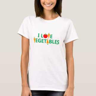 Cute Funny Vegetarian I Love Vegetables T Shirt