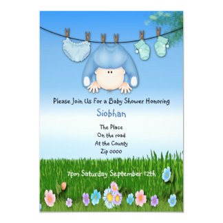 Cute Funny Washing Line Baby Boy Shower 5x7 Paper Invitation Card