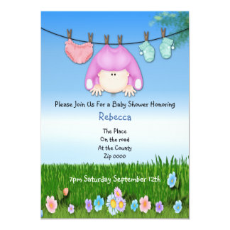 Cute Funny Washing Line Baby Girl Shower Card