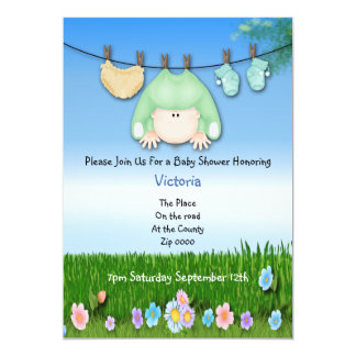 Cute Funny Washing Line Baby Shower Card
