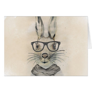Cute funny watercolor bunny with glasses and scarf card