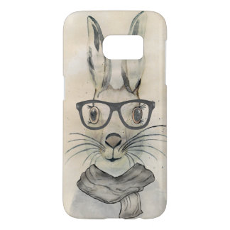 Cute funny watercolor bunny with glasses and scarf samsung galaxy s7 case