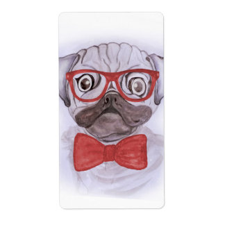 Cute funny watercolor pug with red glasses and bow label