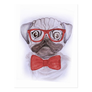 Cute funny watercolor pug with red glasses and bow postcard