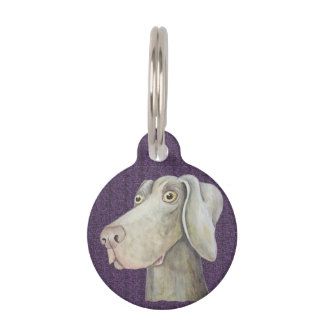Cute, funny weimaraner painting pet tag