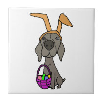 Cute Funny Weimaraner with Bunny Ears Ceramic Tile