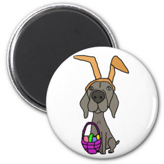 Cute Funny Weimaraner with Bunny Ears Magnet