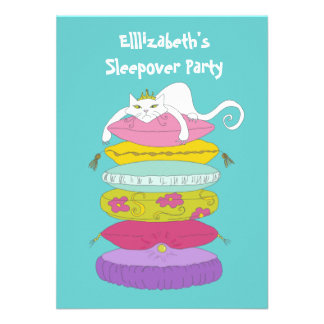 Cute funny whimsical cat and pea Sleepover Invites