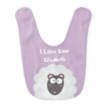 Cute Funny Whimsical Pun I Love Ewe Custom Name Baby Bib
