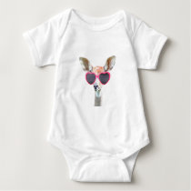 Cute funny woodland animal antelope for baby/kids baby bodysuit