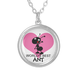 cute funny world's best aunt silver plated necklace