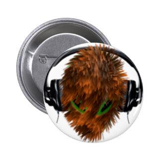 Cute Fur covered Alien DJ with Headphones Pin