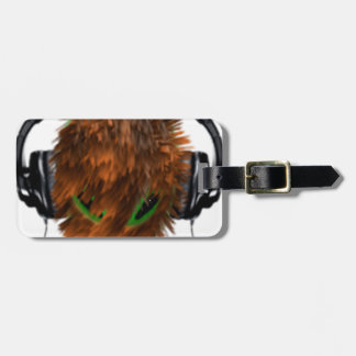 Cute Fur covered Alien DJ with Headphones Tags For Bags