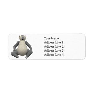 Cute fur lemur address gift name tag label