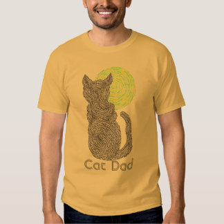 Cute Fur Parent Black Cat And The Moon Cat Dad Tee
