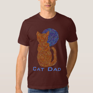 Cute Fur Parent Colorful Cat Dad Kitty Art Tee