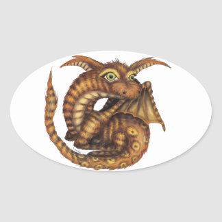 Cute Furry Dragon Oval Sticker