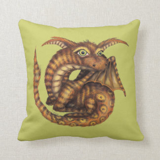 Cute Furry Dragon Throw Pillow