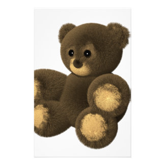 Cute furry teddy bear stationery