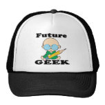 cute future geek white baby trucker hat
