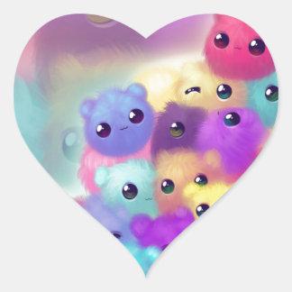 Cute fuzzies heart sticker