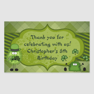 Cute Fuzzis and Clovers Irish Thank You Birthday Rectangular Sticker
