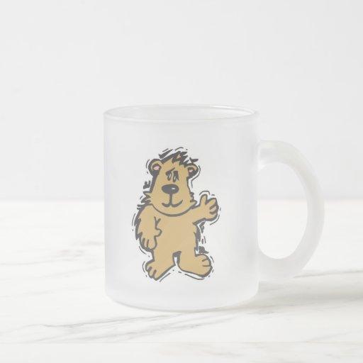 cute fuzzy bear frosted glass coffee mug