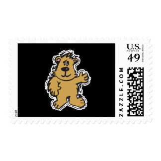 cute fuzzy bear postage