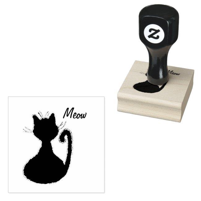 Cute Fuzzy Black Cat Silhouette Meow