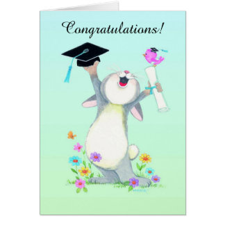 Cute fuzzy bunny cap graduation customizable card
