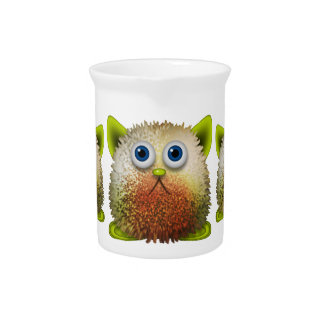 Cute Fuzzy Cartoon Character Art for All Beverage Pitcher