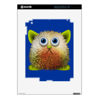 Cute Fuzzy Cartoon Character Art for All Decal For iPad 2