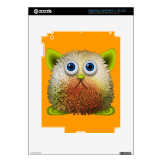 Cute Fuzzy Cartoon Character Art for All Decal For iPad 3