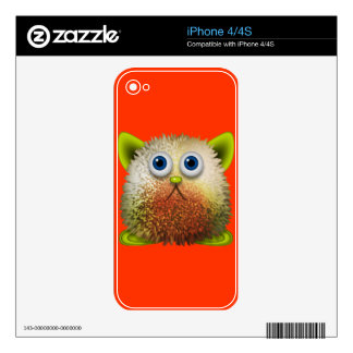 Cute Fuzzy Cartoon Character Art for All iPhone 4 Skin