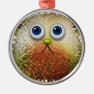 Cute Fuzzy Cartoon Character Art for All Metal Ornament