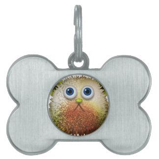 Cute Fuzzy Cartoon Character Art for All Pet Name Tag