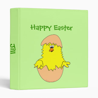Cute Fuzzy Cartoon Easter Chick in Shell Binder