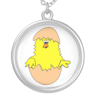 Cute Fuzzy Cartoon Easter Chick in Shell Round Pendant Necklace