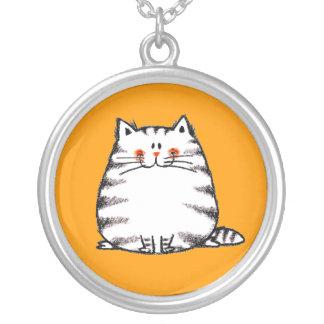 Cute fuzzy cat round pendant necklace