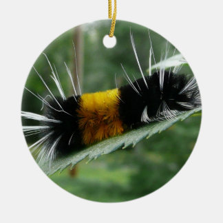 Cute Fuzzy Caterpillar Double-Sided Ceramic Round Christmas Ornament