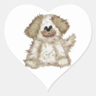Cute Fuzzy Dog Heart Stickers