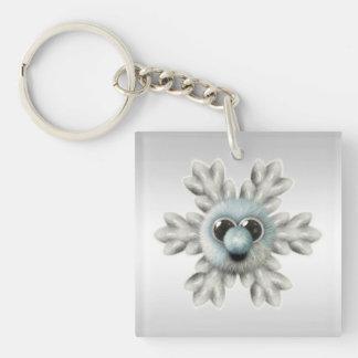 Cute Fuzzy Snowflake Keychain