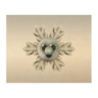 Cute Fuzzy Snowflake Wood Wall Art