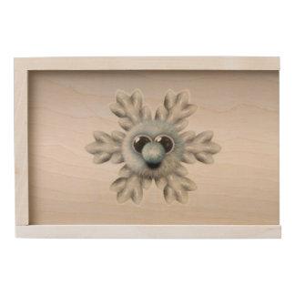 Cute Fuzzy Snowflake Wooden Keepsake Box