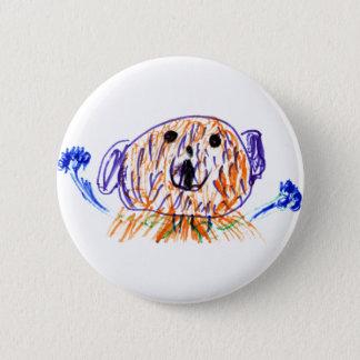 Cute fuzzy teddy bear drawn by a 5 year old girl pinback button